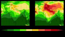 Maximum daily average 8-hour surface ozone over South Asia for the present day (1995-2004, left) and future (2045-2054, right) RCP 8.5 scenarios.